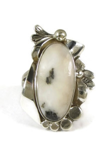 Silver White Buffalo Ring Size 6 by Les Baker Jewelry