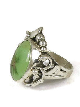 Natural Green Royston Turquoise Ring Size 6 by Les Baker Jewelry