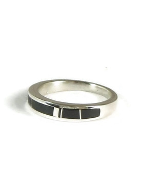 Silver Black Onyx Inlay Ring Size 10 (RG5005)