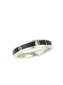 Silver Black Onyx Inlay Ring Size 5 1/2
