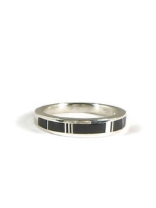 Silver Black Onyx Inlay Ring Size 10 (RG5006)