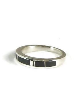 Silver Black Onyx Inlay Ring Size 11 (RG5006)