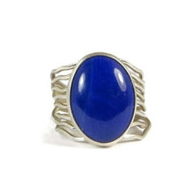 Silver Lapis Branch Wire Ring Size 7 1/4