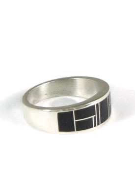 Silver Black Onyx Inlay Ring Size 10 (RG5011)