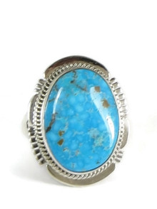 Webbed Kingman Turquoise Ring Size 10 by John Nelson