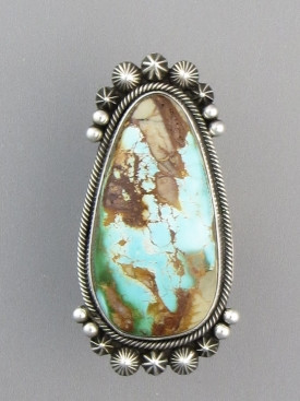Large Royston Turquoise Gem Ring Size 7 1 2 By Aaron Toadlena