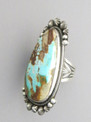 Large Royston Turquoise Gem Ring Size 7 1/2 by Aaron Toadlena