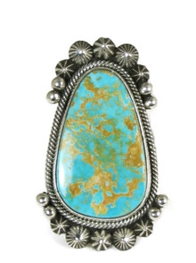Natural Pilot Mountain Turquoise Ring Size 8 by Aaron Toadlena