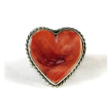 Spiny Oyster Shell Heart Ring Size 8 by Kim Yazzie