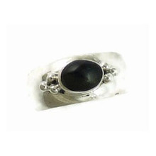 Sterling Silver Onyx Band Ring Size 9