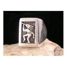 Silver Hopi Overlay Kokopelli Ring Size 10