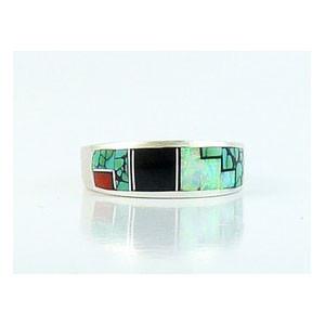 Turquoise & Gemstone Geometric Inlay Band Ring Size 10 1/4