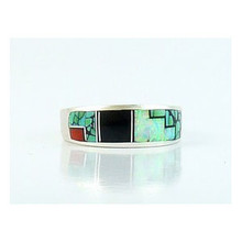 Turquoise & Gemstone Geometric Inlay Band Ring Size 10 1/4