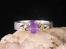 14k Gold, Silver & Amethyst Ring Size 6