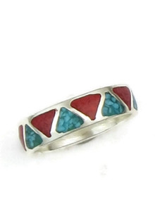 Turquoise & Coral Chip Inlay Ring Size 8