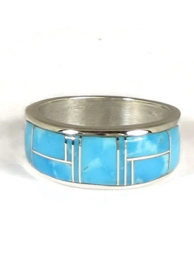 Kingman Turquoise Inlay Ring Size 11 3/4