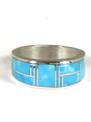 Kingman Turquoise Inlay Ring Size 8