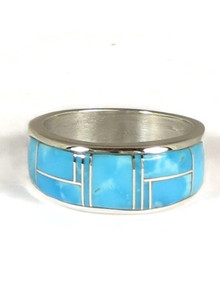 Kingman Turquoise Inlay Ring Size 8