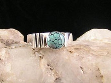 Spiderweb Turquoise & Silver Ring Size 8 3/4