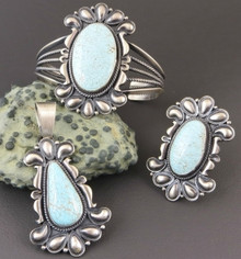 Handmade Number 8 Turquoise Bracelet, Pendant & Ring Set by Derrick Gordon