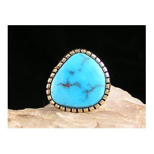 14k Gold Natural Morenci Turquoise Tie Tack