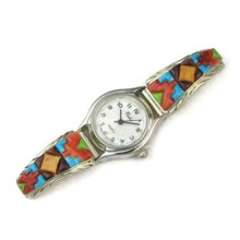 Navajo Multi Gemstone Sculpted Inlay Watch