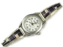 Silver Sugilite & Opal Inlay Watch by Ruby Benally, Navajo