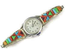Multi Gemstone Scultped Inlay Watch