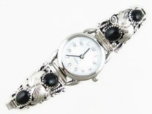 Sterling Silver Onyx Watch (WTH281)