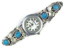 Sterling Silver Turquoise Watch (WTH536)