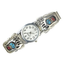 Turquoise & Coral Bear Paw Watch for Men