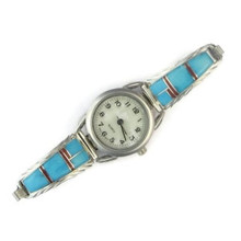 Sterling Silver Turquoise & Coral Inlay Watch