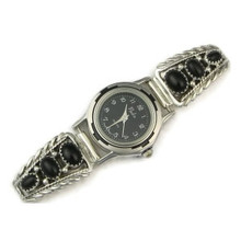Sterling Silver Onyx Watch (WTH590)