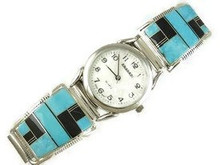 Sleeping Beauty Turquoise & Jet Inlay Watch