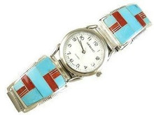 Sleeping Beauty Turquoise & Coral Inlay Watch
