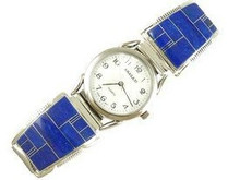 Sterling Silver Lapis Inlay Watch (WTH635)