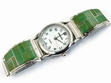 Green Kingman Turquoise Inlay Watch - Mens Turquoise Inlay Watch