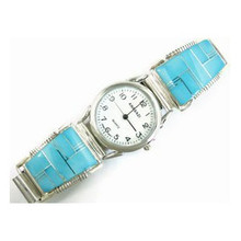 Sleeping Beauty Turquoise Inlay Watch - Mens Turquoise Inlay Watch