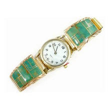 12k Gold & Silver Green Kingman Turquoise Inlay Watch