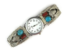 Sterling Silver Turquoise & Coral Buffalo Watch