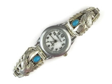 Sterling Silver Turquoise Eagle Watch
