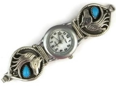 Sterling Silver Turquoise Horse Watch