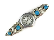 Sterling Silver Turquoise Watch (WTH930)