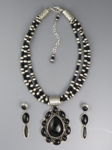 Three Strand Onyx Pendant Necklace Set by LaRose Ganadonegro