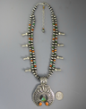 Royston Turquoise and Spiny Oyster Shell Squash Blossom Necklace by Darryl Becenti