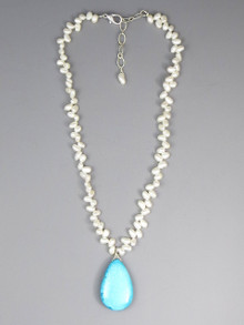 Freshwater Pearl Turquoise Necklace (4411)