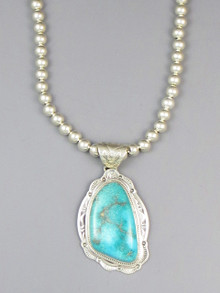 Royston Turquoise Pendant Necklace by Joe Piaso Jr.
