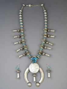 Old Coin Mercury Dime Morgan Dollar Kingman Turquoise Squash Blossom Necklace Set by James McCabe