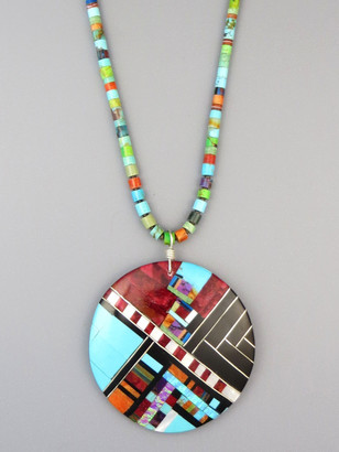Santo Domingo Mosaic Inlay Heishi Necklace by Ronald Chavez