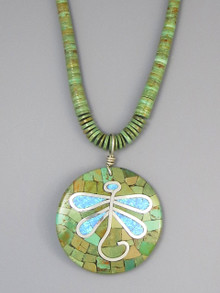 Santo Domingo Mosaic Inlay Turquoise and Opal Dragonfly Pendant Necklace by Ronald Chavez